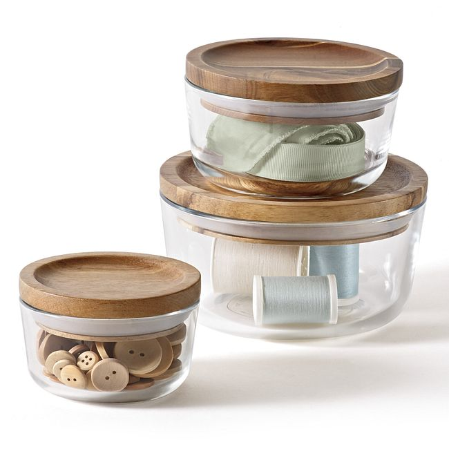6-piece Glass Food Storage Container Set with Wood Lids