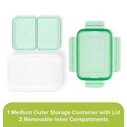 Meal Prep 2-section Divided: 4.6-cup Rectangle Storage Container with green lid showing individual pieces