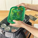 MealBox™ 5.9-cup Divided Glass Food Storage Container with Dark Green Lid