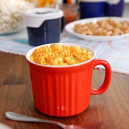 Colours® Pop-Ins® Tomato 20-oz Mug w/ Vented Lid shown holding macaroni and cheese