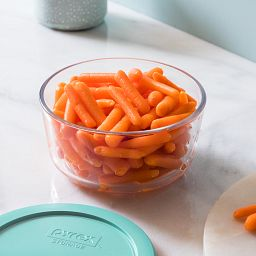 4-cup Glass Food Storage Container with carrots inside