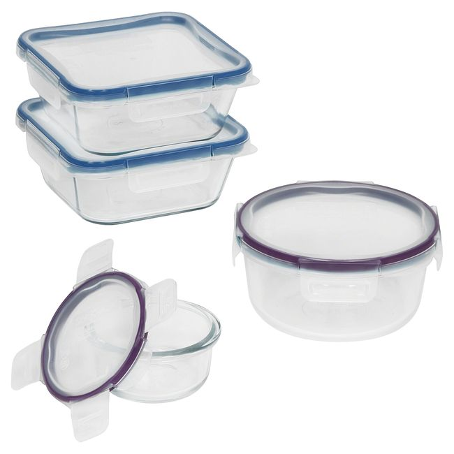 8-piece Food Storage Container Set made with Pyrex Glass