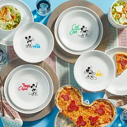 12-pc Dinnerware Set: Mickey Mouse™ - The True Original on the table with food