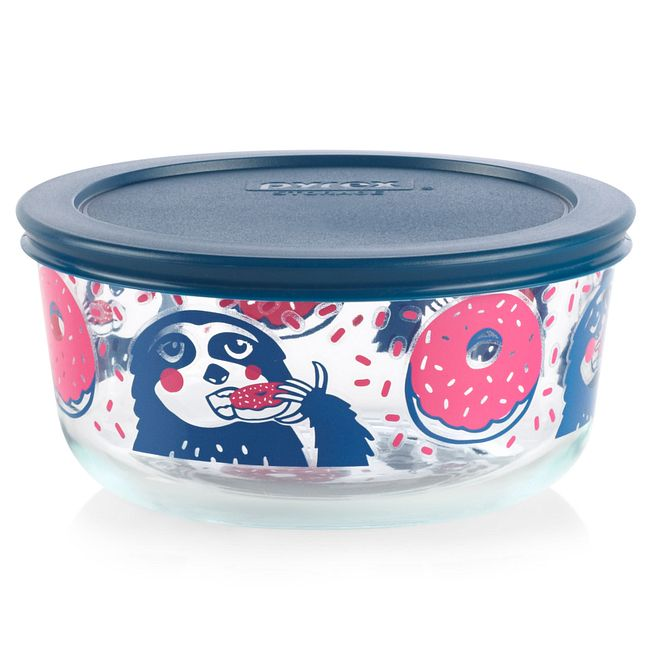 Sloth 4-cup Glass Food Storage Container with Blue Lid