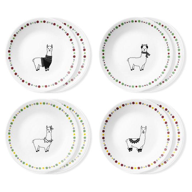 """Falalala Llama 6.75"""" Appetizer Plates, 8-pack"""