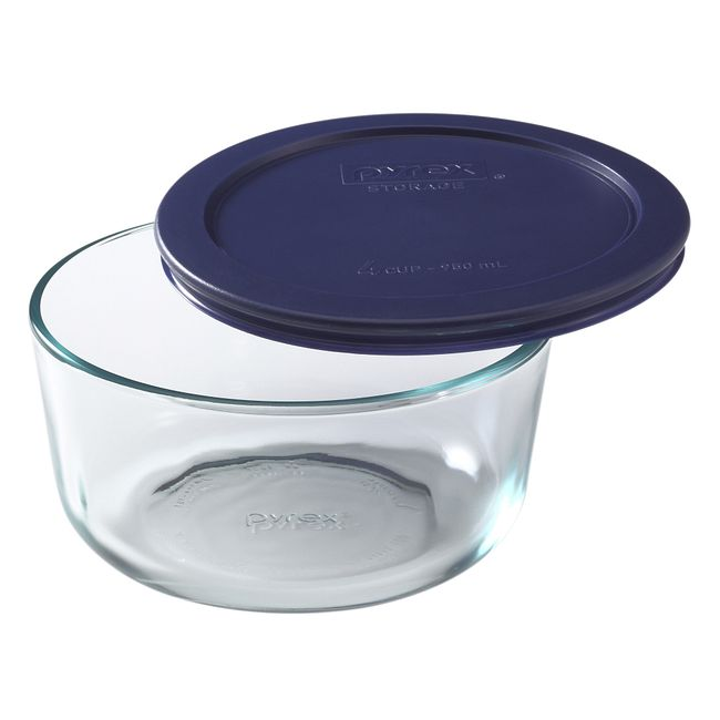 4-cup Glass Food Storage Container with Blue Lid