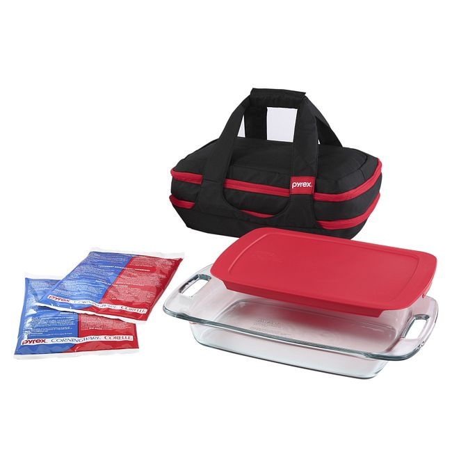 9-piece Portables Set with Black Bag and Red Lid