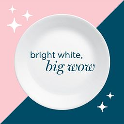 bright white big wow text on white plate