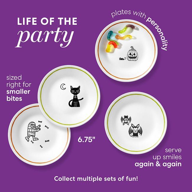 """Party Ghouls 6.75"""" Appetizer Plate Set, 8-pk"""