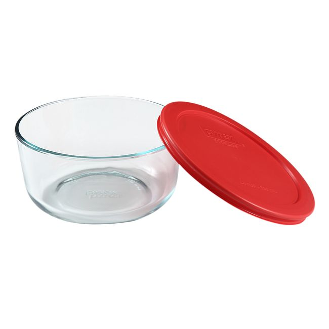 4-cup Glass Food Storage Container with Red Lid