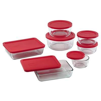 Pyrex Simply Store 14-Pc Set W/ Red Lids