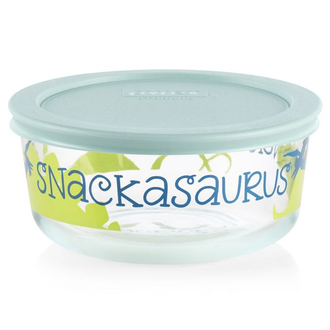 Snackasaurus 2-cup Glass Food Storage Container with Light Aqua Lid