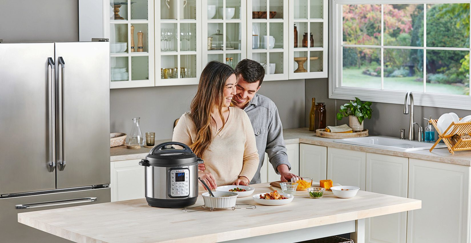 instant pot on table with meal