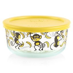 Go Bananas 4-cup Glass Food Storage Container with Yellow Lid