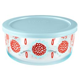 4 Cup Bloom Horizon Storage Dish w/ Light Blue Lid On