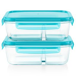 Meal Box™ 4-piece 3.4 cup Divided Glass Food Storage Set - stacked - front view