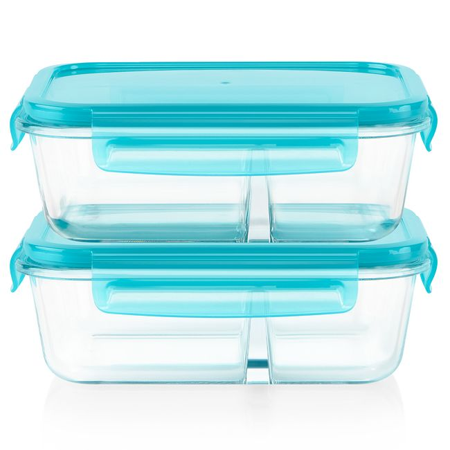 MealBox™ 4-piece 3.4-cup Divided Glass Food Storage Set
