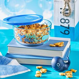 Whale Hello There 4-cup Glass Food Storage Container with Blue Lid with food inside