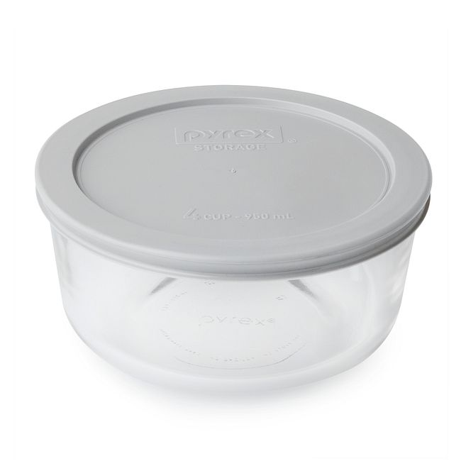 4 Cup Glass Food Storage Container With Gray Lid Pyrex