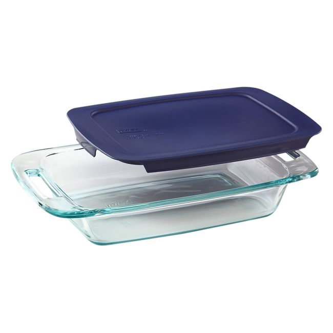 2-quart Glass Baking Dish with Blue Lid