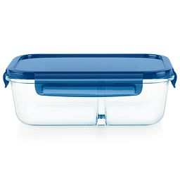 MealBox 5.5-cup Divided Glass Food Storage Container with Blue Lid - side view