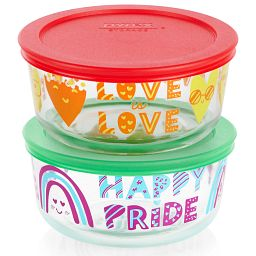 Love is Love 4-piece Glass Food Storage Container Set with Lids