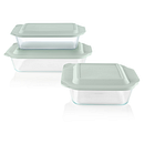 Deep 6-piece Glass Baking Dish Set with Green Sage Lids
