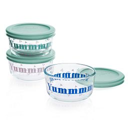 Yummm 6-piece Glass Food Storage Container Set with Jade Green Lids
