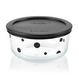 Simply Store 4 Cup Noir Polka Dot Storage Dish with Black Lid