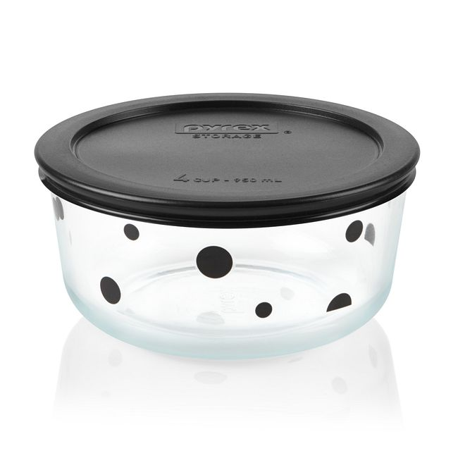 Noir Polka Dot 4-cup Glass Food Storage Container with Black Lid