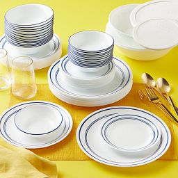 Classic Café Blue 78-pc Dinnerware Set Stacked on the table