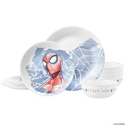 Spider-man 12piece Dinnerware set showing all 12 pieces of the set