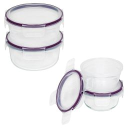 Total Solution™ Pyrex® Glass  &  Plastic Food Storage 8-pc Round Set stacked