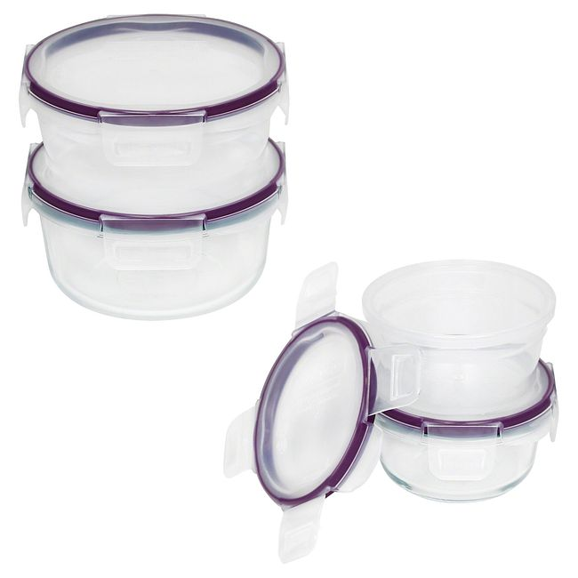 8-piece Plastic and Pyrex Glass Food Storage Container Set