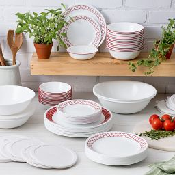 Crimson Trellis 78-pc Dinnerware Set on the Countertop