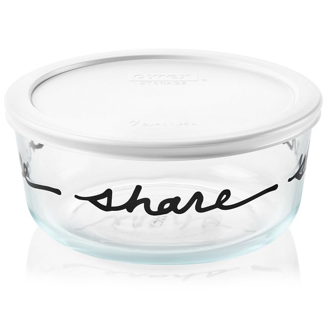 Celebrations Share 7-cup Glass Food Storage Container with White Lid