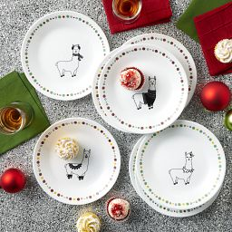 "Llama 6.75"" Appetizer Plates, 8-pk displayed on the table"
