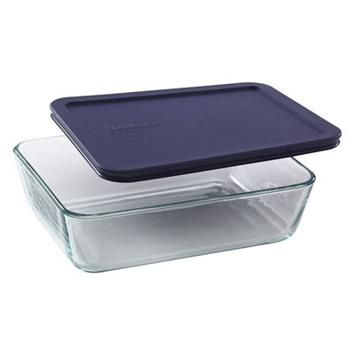 Pyrex Simply Store 6 Cup Rectangular Dish W/ Blue Lid