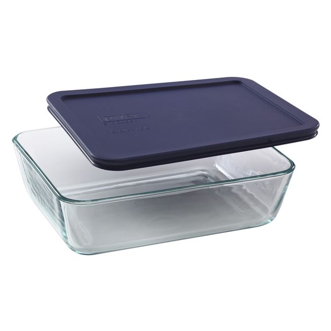 6-cup Rectangular Glass Food Storage Container with Blue Lid