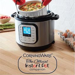 Corningware French White® 2.5-qt Round Casserole w/ Glass Lid being used in an Instant Pot