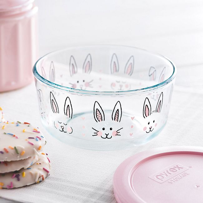 Hippity Hoppity 4-cup Glass Food Storage Container with Pink Lid