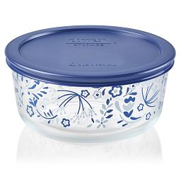 Prairie Garden 4-cup Glass Food Storage Container with Blue Lid On