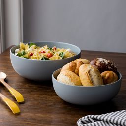 Modern Ash Stoneware 2-pc Mixing Bowl Set with food inside