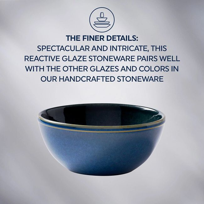 Stoneware 21-ounce Bowls, Navy, 4-pack