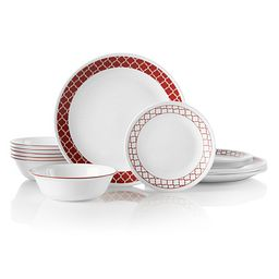 Crimson Trellis 18-piece Dinnerware Set displaying all pieces in set
