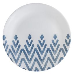 Pattened Corelle plate with navy lines covering half of the plate