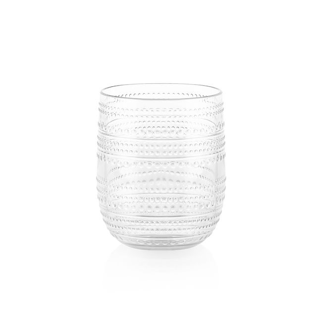 Clear Beaded 15-ounce Acrylic Stemless Drinkware