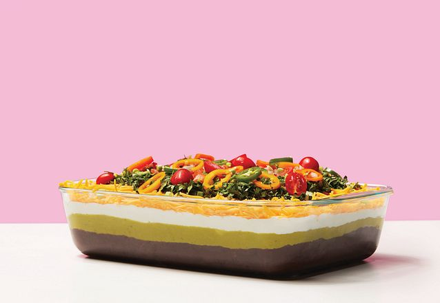 Pyrex Deep 9 x 13 baking dish showing a layered dip
