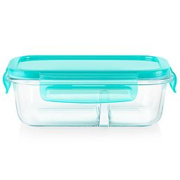 MealBox 2.1 cup Rectangular Divided Glass Storage Container with Turquoise Lid - side view