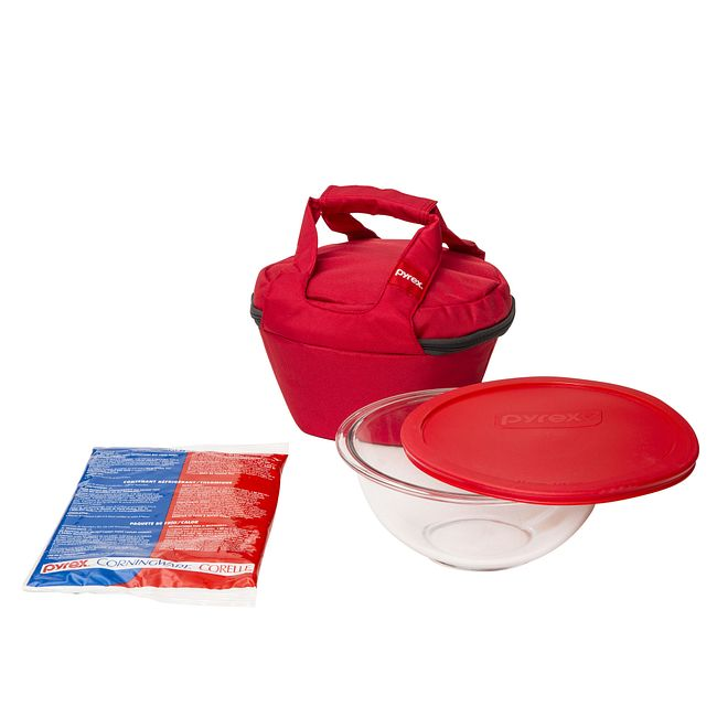 Portables 4-piece Mixing Bowl Set with Red Lid and Carrying Case